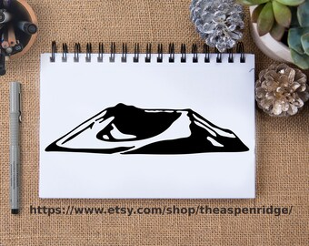 Mt. Saint Helens II clipart, mount saint helens clip art, mountain illustration black and white, for commercial use, for personal use, PNW