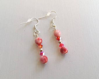 Elegant earrings in shades of Red Jade beads and Swarovski Crystal. Unique jewelry
