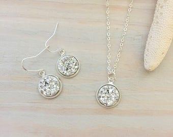 Druzy Jewelry Set - Silver Bridesmaid Jewelry Set - Birthday Jewelry Gift - Silver Jewelry Set - Silver Wedding Jewelry - Sterling Silver