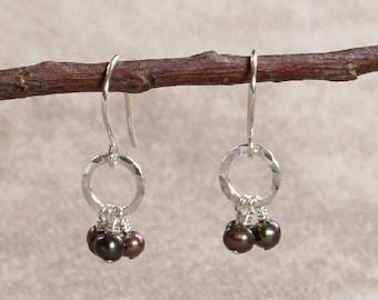 Brown Fresh Water Pearl & Hammered Sterling Silver Circle Earrings