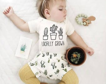 Locally Grown, Organic Cotton, Succulent, Cactus, Custom, Baby, Toddler