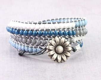 Blue Boho Wrap Bracelet Southwestern Style Silver Skinny Bracelet Leather Bracelet Boho Jewelry Gray White 4x Wrap Bohemian Leather Jewelry