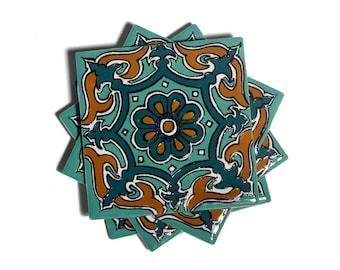 "Talavera Coasters, Talavera Tile, Mexican Coasters, Mexican Tile, Rustic Coasters, Set of Coasters -- ""Royal Star"" -- Set of Four"