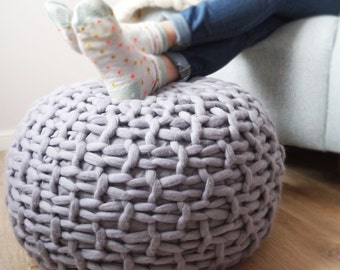 Grey knitted pouf footstool - grey chunky knit pouffe footstool - grey knit pouf - grey knit footstool - knitted pouf ottoman