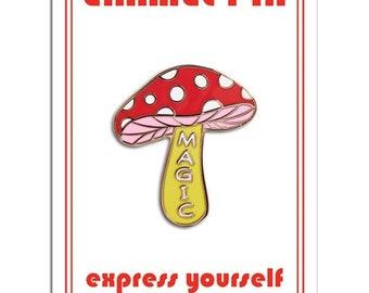 Magic Mushroom Retro Style Enamel pin by The Found