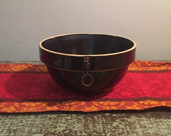 Vintage Stoneware Mixing Bowl - Two Tone Brown Bowl - Footed