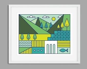 Wall Art, Minimalist Print, Minimalist Wall Art, Art Print, Digital Print, Digital Art, Modern Wall Art, Minimalist, Modern Landscape, Print
