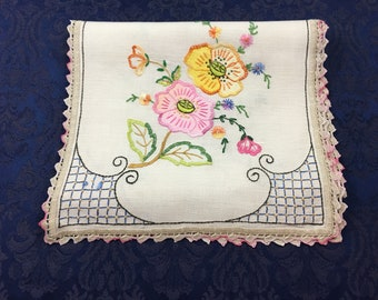 Vintage Linen Hand Embroidered Table Runner Dresser Scarf with Applique Flowers 44 x 13 1/4  R99