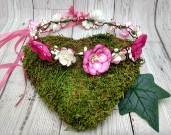 Pink flower crown, floral hair garland, shades of pink, magnolia, blossom, pretty pink hair wreath, UK shop, bridal, festival, garden party