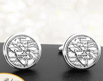 Map Cufflinks Caldwell ID Cuff Links State of Idaho for Groomsmen Wedding Party Fathers Dads Men