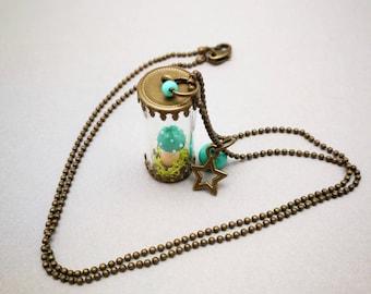 Turquoise blue - limited EDITION - amanita mushroom vial necklace