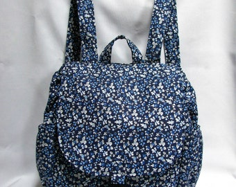Small backpack- Blue gingham print cotton