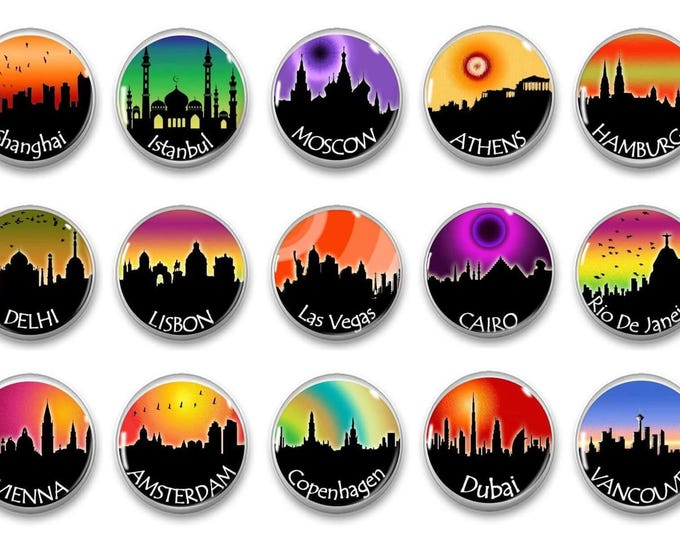 Colorful Travel Magnets - Refrigerator Magnets - History Teacher - Unique Gift - Party Favors - Teacher Gift - Classroom Set Up
