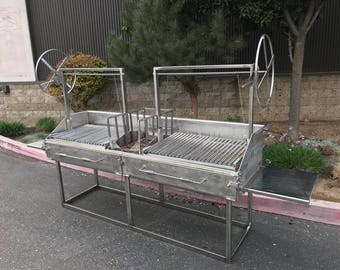 Argentine Parrilla BBQ Grill dual adjustable grates, brick lined, open front