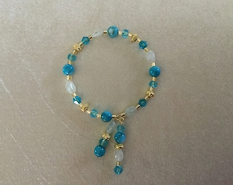 Aquamarine Gold Tone Beaded Memory Wire Bracelet with Dangles