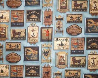 Tavern Signs by The Connecticut Historical Society for Windham Fabrics  #30872-2- Blue (ca 1830)