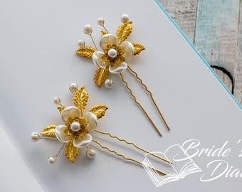 1pc Bridal hair pins, Pearl Hair pins, gold hair pins with pearls