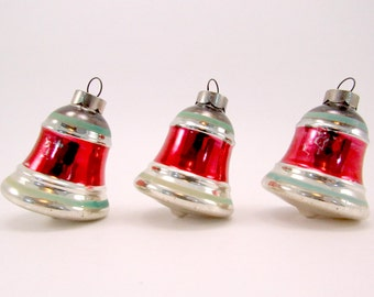 Vintage Glass Bells Christmas Ornaments Striped Christmas Decorations Baubles