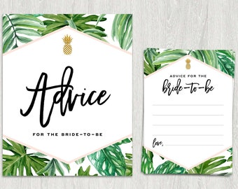 Advice for the Bride-to-Be | Card and Sign | Tropical Bridal Shower | Palm Leaf | Instant Download