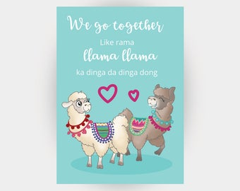 Silly Anniversary Card - A6 Card - Pun Card - Funny Anniversary - Grease the Musical - Llama Card - Nerdy Anniversary - Silly Card - Llamas