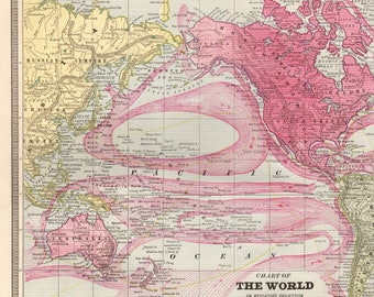 1901 Antique Map of The WORLD Vintage World Map Gallery Wall Art Library Decor Gift for Map Collector Birthday Wedding Traveler 7849