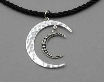 Double Moon Necklace - Celestial Jewelry, 925 sterling silver moon necklace, celestial necklace, moon jewelry