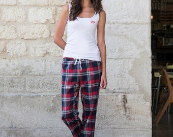 Trouser Pyjama Set Women's, trouser and tank top, tartan, checked, vest, lounge wear, red, green, Sarah, Twill weave