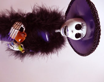 Deep Purple Catrina, Handmade Dia de Los Muertos Day of the Dead