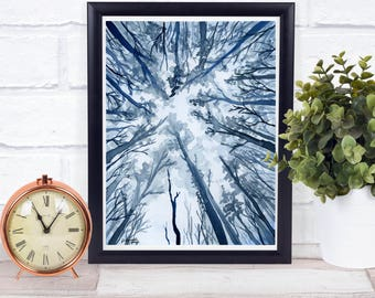 Blue Forest Print - Lake house Decor - Adventure Awaits - landscape painting - Best Selling Items