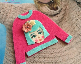 Felt art brooch, Girl brooch,Face brooch, Flower girl face pins, tshirt pins,Girl face sweater,cute girl face pins,Pink sweater, Felt pins