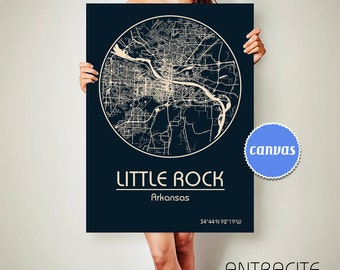 LITTLE ROCK Arkansas CANVAS Map Little Rock Arkansas City Map Little Rock Arkansas Art Print Little Rock Arkansas