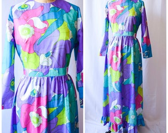 1970s Dress | Poesies | Vintage 70's Maxi Dress Colorful Large Floral Long Sleeves Shirred Waist Ruffled Hem Size M