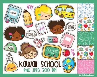 50% OFF, School supplies clip art, school kids clip art, kawaii school clipart, school clip art, classroom clip art, school supplies clipart