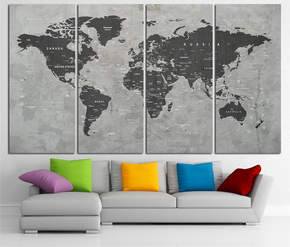Custom quote push pin world map canvas print world map wall custom quote push pin world map canvas print world map wall art set world map print world map poster wall art canvas world map wall decor gumiabroncs Image collections