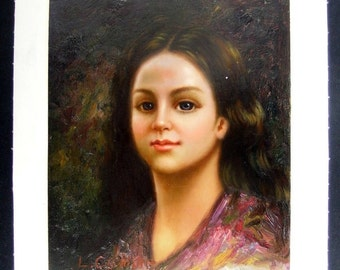 L. Camille Original Oil on Canvas Painting Portrait of Woman Unstretched