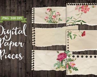 6 Digital Vintage Papers Scraps Bits Pieces Antique Vintage Paper Digital Torn Paper Labels - Print Paper PNG - INSTANT DOWNLOAD