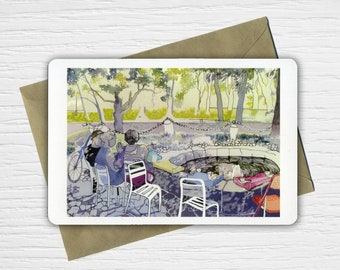 More Coffee terrace watercolor card