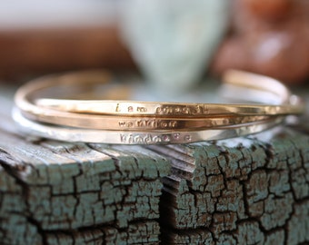 skinny stacking personalized cuff bracelet Sterling silver Bronze Gold filled Hand Stamped thin hammered personalized cuff bracelet