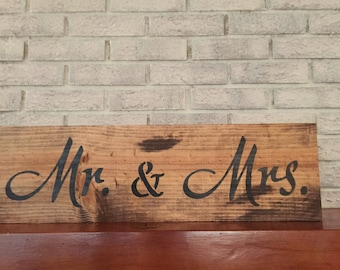 Mr. & Mrs. Sign, 5th Anniversary Gift, Farmhouse Style, Country Wedding Gift, Rustic Wood Sign, Folk Art Decor, Wooden Wall Hanging