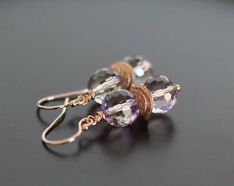 Ametrine quartz earrings, Ametrine jewelry, Holiday gift, purple earrings, purple jewelry gift, 14k rose gold fill shepherd hook ear wires