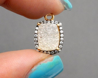 White Shimmer Druzy Rectangle Station Pendant - 8mm x 10mm - Gold Over Sterling CZ Bezel with Rhinestone (S70B9-12)