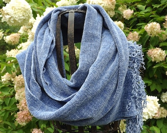 Periwinkle Blue Handwoven Chenille Scarf