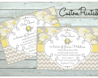Printable Custom  Invitation, Baby Shower Invitation, Baby Elephant, Yellow Gray Shower Invitation