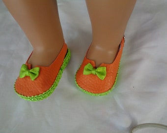 "Orange and Green 18"" Doll Sandals-Shown on my american girl doll"