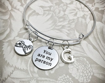 YP, You Are My Person, Personalized Bracelet, Friendship Bracelet, Girlfriend Bracelet, Adjustable Bangle, Sisters Bangle, Friendship Bangle
