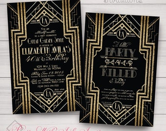 GATSBY/ROARING 20s Invitations, Programs, Thank Yous, & more. Wedding, Sweet 16, Engagement, Shower. Customize for free. Gold, White, Black