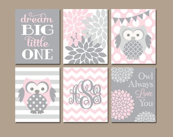 OWL Nursery Wall Art, Girl Owl Nursery Decor, Pink Gray Owls, Baby Girl Nursery Art, Canvas or Prints, Girl Owl Decor, Set of 6 Wall Decor