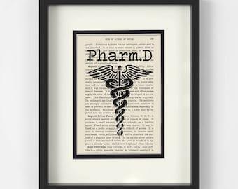 Pharmacist Gift - PharmD Over Vintage Pharmacy Book Page - Rx, Pharmacy Graduation, Pharmacist Graduation, Pharmacy Student, Pharmacy Tech