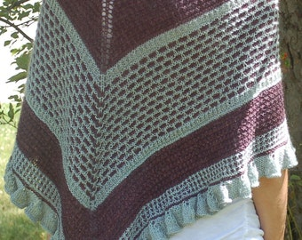 Winged Tip Knitted Shawl, Knitting Pattern, Shawl Knitting Pattern,