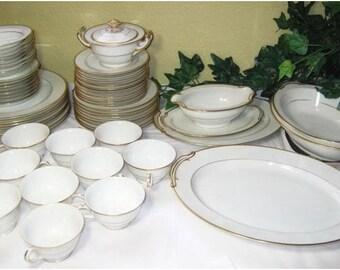 Vintage 58 pc Noritake China Japan M Goldcroft Dinnerware Set Plates Saucers Serving Dish